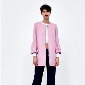 NWT ZARA Pink Ruffled Sleeve Coat